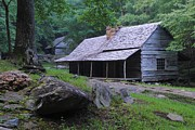 Log Cabin Prints - Smoky Mountain Cottage Print by Robert Harmon