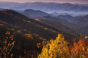 Autumn Woods Metal Prints - Smoky Mountain Hillsides at Autumn Metal Print by Andrew Soundarajan