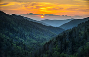 Wnc Posters - Smoky Mountains Sunset - Great Smoky Mountains Gatlinburg TN Poster by Dave Allen