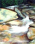 Tennessee Prints Paintings - Smoky Mountains Waterfall by Patricia Griffin Brett