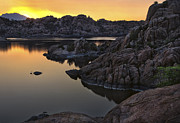 Watson Lake Posters - Smoky Sunset on Watson Lake Poster by Dave Dilli