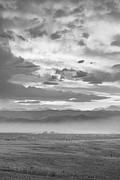 Flagstaff Posters - Smoky Sunset Over Boulder Colorado BW Poster by James Bo Insogna