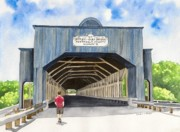 Covered Bridge Paintings - Smolen-Gulf Bridge by Laurie Anderson