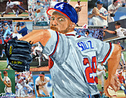 League Painting Prints - Smoltz Print by Michael Lee