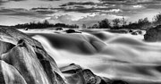 Great Falls Park Maryland Framed Prints - Smooth Black and White Framed Print by JC Findley