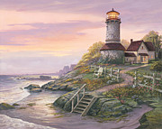 Lighthouse Paintings - Smooth Sailing by Michael Humphries