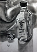 Glass Bottle Drawings Framed Prints - Smooth Talk Sweet Reward Framed Print by Gabor Bartal