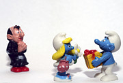 Toy Shop Prints - Smurf figurines Print by Amir Paz
