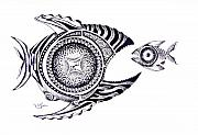Pen Detail Framed Prints - Snack Fish Framed Print by J Vincent Scarpace
