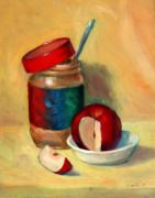 Apple Still Life Art - Snack Time by Athena  Mantle