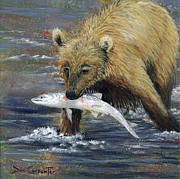 Salmon Painting Posters - Snack Time Poster by Dee Carpenter