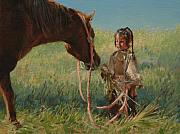 Lakota Paintings - Snack Time by Jim Clements