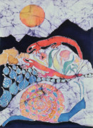 Dark Tapestries - Textiles Prints - Snail with Red Efts Print by Carol  Law Conklin