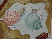 Cut Outs Paintings - Snails in a puddle  by Carrie Beehan