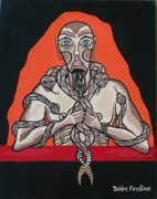 Prophetic Art Painting Posters - Snake Mans Twisted Desires Poster by Deidre Firestone