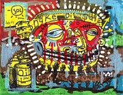 Folk Art Mixed Media Posters - Snake Oil Salesman Poster by Robert Wolverton Jr