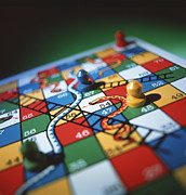 Board Game Photo Posters - Snakes And Ladders Poster by Tek Image