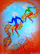 Kids Books Metal Prints - Snakes Riders Metal Print by Marie Schwarzer