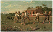 Barn Painter Posters - Snap the Whip Poster by Winslow Homer
