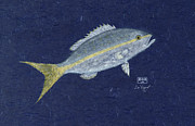 Fish Rubbing Posters - Snapper on Blue Gyotaku Poster by Don Regar