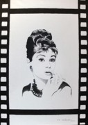 Audrey Hepburn Painting Originals - snapshot in time II by Ingrid Stiehler