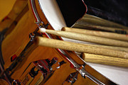 Drumsticks Photo Acrylic Prints - Snare sticks and a bell Acrylic Print by Alan Look