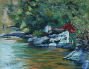 Fly Fishing Art - Sneaking Up on a Rainbow by Mary Benke