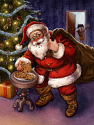 Cookie Painting Prints - Sneaky Santa Print by Isabella Kung