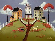 Autumn Folk Art Paintings - Snicker and Doodle by Catherine Holman