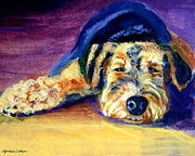 Pets Paintings - Snooze Airedale Terrier by Lyn Cook