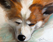 Corgis Framed Prints - Snooze Framed Print by Mary Sparrow Smith