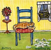 Lazy Dog Paintings - Snooze time by Frances Gillotti