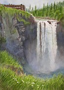 Waterfall Painting Posters - Snoqualmie Falls Washington Poster by Sharon Freeman