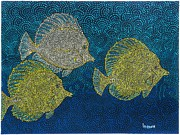 Hawaiian Fish Paintings - Snorkel 8 Yellow Tangs by Linda Peterson