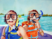 Snorkel Girls Print by Ron Stephens