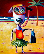 Dog Beach Card Framed Prints - Snorkel Pup Framed Print by Mary Naylor