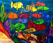 Fish Paintings - Snorkeling Off Norman Island by Patti Schermerhorn