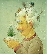 Christmas Tree Prints - Snovy Winter Print by Kestutis Kasparavicius