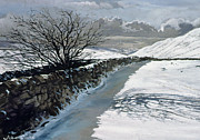 Snowy Stream Paintings - Snow Above Barbondale - Barbon by John Cooke