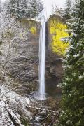 Point Of Interest Framed Prints - Snow Adds Beauty To Latourell Falls Framed Print by Craig Tuttle