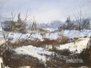 Snowscape Painting Prints - Snow and Cedars Print by Douglas W Trowbridge