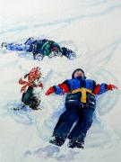 Children Print Painting Originals - Snow Angels by Hanne Lore Koehler