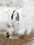 Kazakhstan Photos - Snow Around The Aral Sea by Stocktrek Images