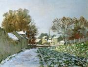 Spire Painting Posters - Snow at Argenteuil Poster by Claude Monet