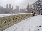 Bow Bridge Prints - Snow at Bow Bridge Print by Cornelis Verwaal