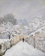 Winter Scenes Framed Prints - Snow at Louveciennes Framed Print by Alfred Sisley