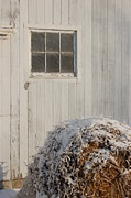 Snow On Barn Posters - Snow bale and barn Poster by Sam Perry