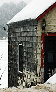 Old Door Mixed Media - Snow Barn  by AdSpice Studios