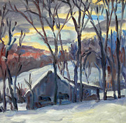 New York Painter Paintings - Snow Barn Berkshires by Thor Wickstrom