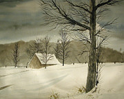 Snowstorm Paintings - Snow Barn by Rhodes Rumsey